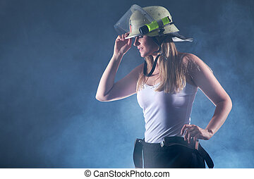 sexy Firefighter in fog