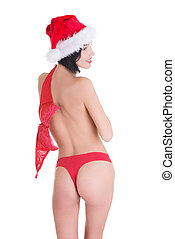 Sexy ,fit ,topless santa girl