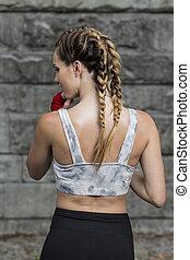 Sexy fit woman in a sportswear