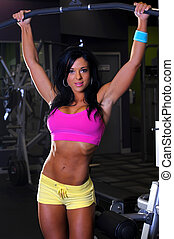 Sexy fitness girl working out