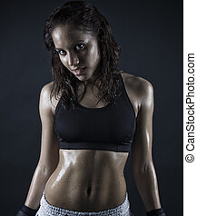 sexy fitness - brunette woman smiling after workout . wet...
