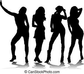 sexy fousome - A group of four sexy women in black ...