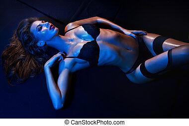 sexy, frau, anfall