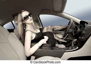 sexy, frau, auto