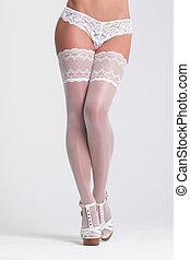 sexy, frau, in, a, weißes, damenunterwäsche, hintergrund