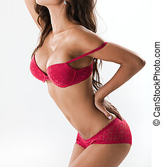 sexy, frau, in, rotes , damenunterwäsche