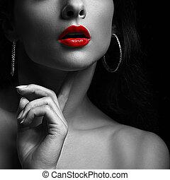 sexy, frau, mit, rotes , lips., schwarz weiß, portrait.,...