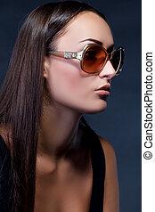 sexy, frau, sonnenbrille