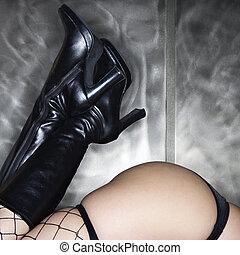 sexy, gambe, e, buttocks.