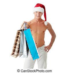 sexy, gespierd, shirtless, man, in, santa claus hoed