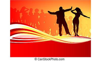 sexy, giovane ballo coppia, su, estate, festa, fondo