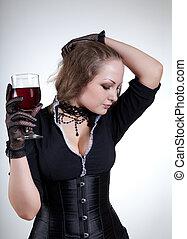 sexy, giovane, con, vino rosso