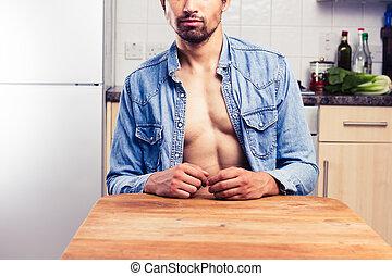 sexy, giovane, in, cucina