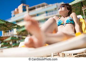 sexy, giovane, spiaggia