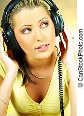 sexy, girl, à, écouteurs