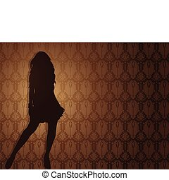 Sexy girl against damask background. Editable Vector...