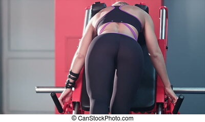 Sexy girl butt workout in the gym. Back view. Professional...