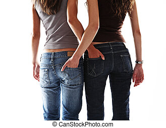 sexy, girl, deux, ami