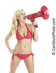 Sexy girl in bikini shouting into megaphone on white - Sexy...