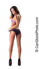 Sexy girl in bikini swimsuit isolated