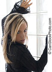 sexy girl in black - blond cute sexy girl wearing black ...