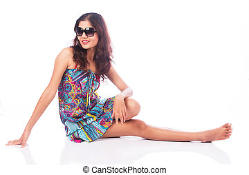 sexy girl in dress with sunglass