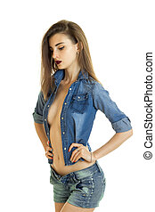 sexy girl in jeans clothes with big silicon boobs