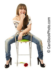Sexy girl on a chair