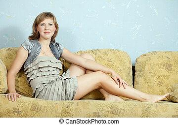 Sexy girl  on sofa