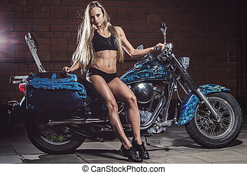 Sexy girl on the bike - Bike. Sexy girl with perfect body