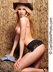 Sexy girl on the hay.