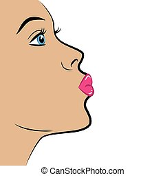 sexy girl portrait with pink lips air kiss