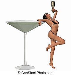 Sexy Girl posing with an Martini Glass