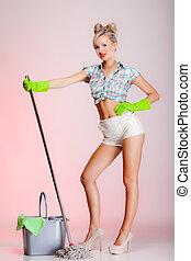 sexy, girl, retro style, femme, femme foyer, nettoyeur, à,...