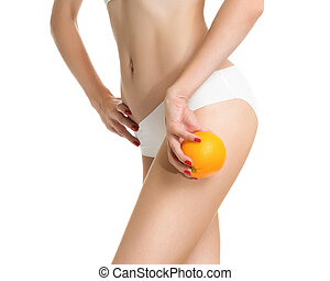Sexy girl shows cellulite and orang