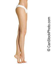 Sexy girl shows slender legs