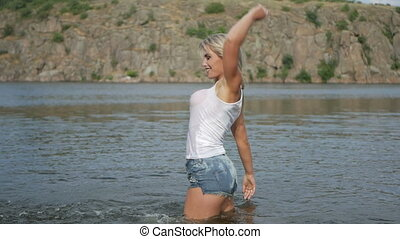 sexy girl sports in the river