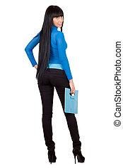 Sexy girl with a blue handbag. Isolated