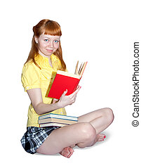 sexy girl with books - Reading girl in yellow blouse. ...