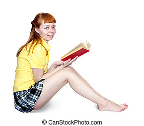 sexy girl with books - Reading girl in short skirt. Isolated...