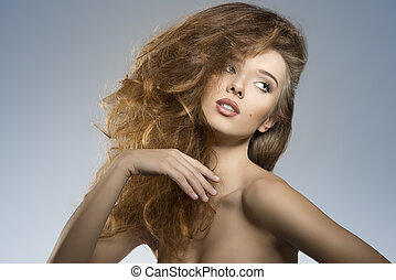 sexy girl with creative hair-style