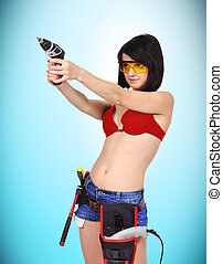 sexy girl with drill