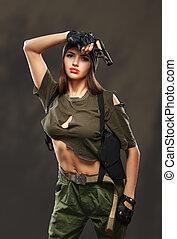 Sexy girl with gun. - Sexy girl with gun