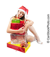 Sexy girl with present box