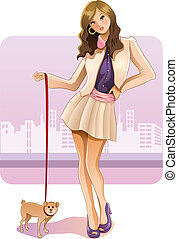 Sexy Girl with Puppy - cartoon illustration of pretty girl...