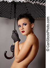 Sexy girl with umbrella