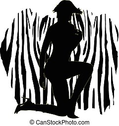 sexy, girl, zebra, illustration