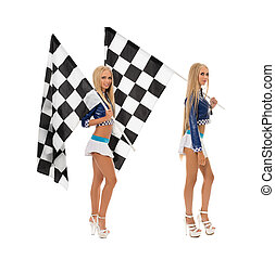 Sexy girls posing with flags. Concept of race
