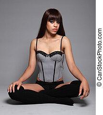 Sexy glamour model girl cross legged in lingerie - Sitting...