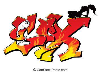 sexy, graffiti